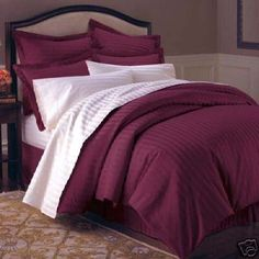 MARRIKAS 300TC Egyptian Cotton TWIN BURGUNDY STRIPE Duvet Cover Set