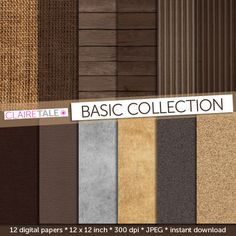WOOD BURLAP LINEN digital paper pattern pack with by ClaireTALE, $4.80