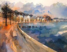 Rachel Walker — Oriental Parade New Zealand Art, New Zealand Travel, Rachel Walker, Tiger Species, Ballet Posters, Boat Shed, Canna Lily, Nz Art, Tree Silhouette