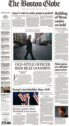 #20160225 #USA #Boston #MASSACHUSETTS #TheBostonGlobe Thursday FEB 25 2016 http://www.newseum.org/todaysfrontpages/?tfp_show=80&tfp_page=4&tfp_id=MA_BG