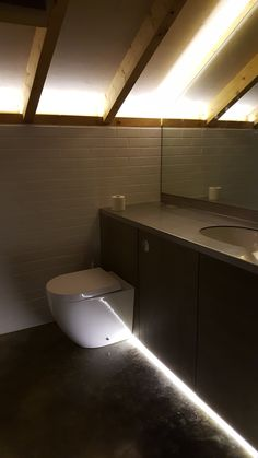 Eaves uplighting, led strip low level lighting, plywood ceiling and stainless steel worktop. Plywood Ceiling, Coach House, Bath Light, Led Strip, Outdoor Gardens, Bathtub, Architecture, Lighting, Modern