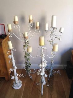 Tall Candelabra hire £10 each  4 different designs .(only one of each available)  Wedding ,events parties  Cambridgeshire  Candles extra fee at £1 each