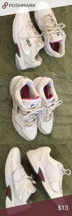 Leather Shoes 9.5 med., Fila, leather and made made. Great shape. Could wash or replace shoelaces. Very clean. Too tight with my orthotics Fila Shoes Athletic Shoes