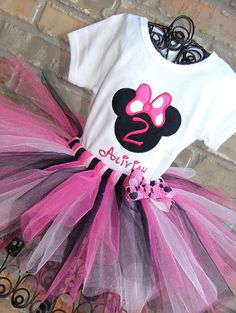 Minnie Mouse Number Birthday Tutu Outfit. $43.95, via Etsy.