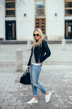 Leather jacket // stripe knit // ripped mom jeans // sneakers // outfit by jonnamaista