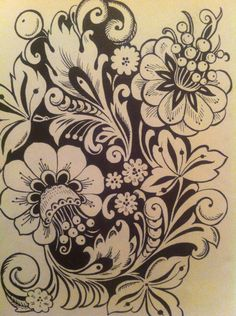 Хохлома Neo Traditional Tattoo, Traditional Art, Folk Embroidery, Embroidery Patterns, Leather Tooling Patterns, Russian Folk Art, Scandinavian Folk Art, Russian Painting, Deco Floral