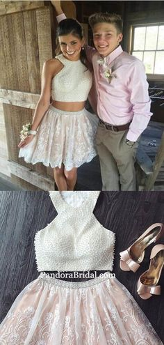 homecoming dresses short Charming Two Pieces Top Pearl Short A-Line Lace Homecoming Dresses, Homecoming Dresses, The Homecoming Dressesarefully bones in the bodi Freshman Homecoming Dresses, Simple Homecoming Dresses, Hoco Dresses, Graduation Dresses, Prom, Tulle Lace, Famous Brands, Two Pieces, Ladies Dress Design