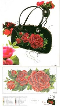 """Схема вышивки крестом для дамской сумочки """"Алые розы"""""""