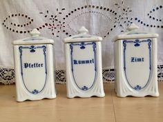 Vintage Küche U0026 Geschirr   Alte Vorratsdosen Aus Porzellan, 3 Er Set   Ein  Designerstück