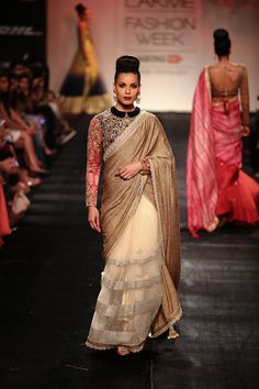 Vikram Phadnis Half Cream, Half Gold With Red & Black Embroidered Sleeved At Lakme Fashion Week Fashion Gal, Asian Fashion, Indian Wedding Outfits, Indian Outfits, Indian Attire, Indian Wear, Desi Clothes, Indian Clothes, Bridal Sari