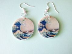 The Great Wave Art History Dangle Earrings by JellyBreShop on Etsy