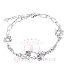 flores brazaletes con bolitas de venta de joyas en plata