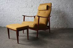Charming Mid Century Scandinavian Modern Westnofa Lounge Chair Rocker With  Ottoman (Norway, 1950u0027s)