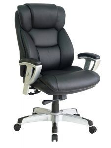 Office Factor New Big and Tall Black Executive Office Chair Bonded Leather Extra Padded Rated to 400 Pounds Five Year Limited Warranty Adjustable Arms in and Out and up and Down Reinforced Base Best Office Chair, Executive Office Chairs, Desk Office, Big Desk, Home Office Furniture Sets, Apartment Furniture, Cool Chairs, Desk Chairs, Wooden Chairs