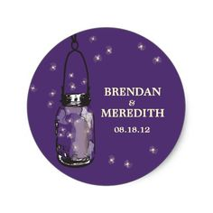 Mason Jars with fireflies Wedding Classic Round Sticker