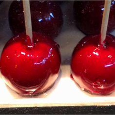 Red caramel apples