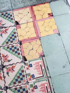 Mexico Travel Inspiration - Tiles from Merida, shot by Brian W. Ferry. prints and colours - weathered/impressionist