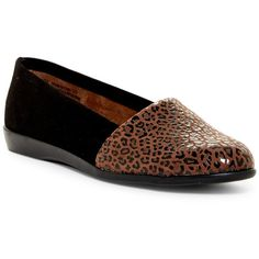 Aerosoles Trend Setter Flat ($50) ❤ liked on Polyvore featuring shoes, flats, leopard combo, slip on flats, memory foam shoes, slip-on shoes, leopard print flats and leopard flats
