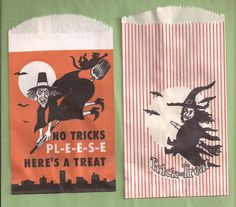 bank Halloween Bags, Retro Halloween, Halloween Trick Or Treat, Halloween Treats, Halloween Party, Loot Bags, Trick Or Treat Bags, Poster Pictures, Witches Brew