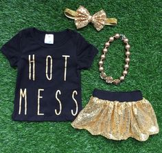 "Baby Girl Clothes ""Hot Mess"" Black Gold Sequin Short Set Toddler Girl Outfit Infant Girl Outfit Kids Clothing Girl Clothes Girl Clothing"