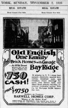 Barwell Terrace ad from the Brooklyn Eagle Nyc Pics, Ny Life, Those Were The Days, All Family, Family Memories, Old Ads, Old And New, Biography, New York City
