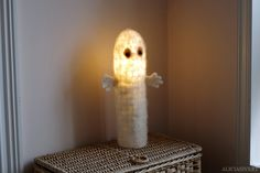 Needle felted Moomin hattifnatter lamp by Alicia Sivertsson, 2014. ~40 x 9 cm.