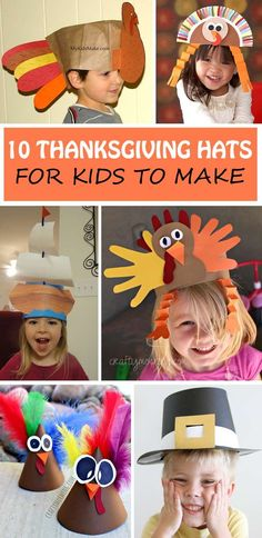 Thanksgiving hats for kids to make and wear during the Thanksgiving dinner: turkey hats, turkey headband, Mayflower hat, pilgrim hat and bonnet
