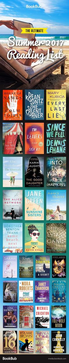 Don't miss these great beach reads. Including great books for summer 2017 and books for the beach. | Summer book list | Books to read on vacation
