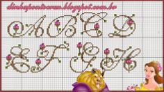 pretty alphabet with flowers! Cross Stitch Needles, Cross Stitch Charts, Cross Stitch Designs, Stitch Patterns, Monogram Cross Stitch, Cross Stitch Alphabet, Loom Beading, Beading Patterns, Beauty And The Beast Cross Stitch