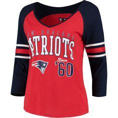 Women's New England Patriots 5th & Ocean by New Era Red/Navy Blind Side 3/4-Sleeve Raglan V-Neck T-Shirt