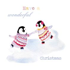 christmas card penguin ice skating