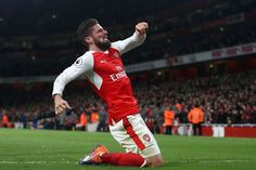 73e23c5002c Olivier Giroud of Arsenal celebrates after scoring the opening goal during  the Premier League match between Arsenal and West Bromwich Albion at  Emirates ...