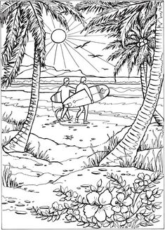 Adult Coloring Page From Creative Haven Summer Scenes Book Dover Publications Find This Pin And More