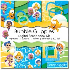 Bubble Guppies Digital Scrapbook Kit by Scrapdiggity on Etsy Scrapbook Kit, Digital Scrapbook Paper, Scrapbooking Ideas, Birthday Bash, Birthday Ideas, Underwater Birthday, Bubble Guppies Birthday, Under The Sea Party, Party Time