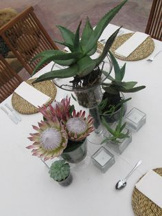 Succulent Aloes and Protea's Flower Decorations, Wedding Decorations, Table Decorations, Wedding Events, Wedding Reception, Wedding Styles, Wedding Ideas, Table Numbers, Spring Wedding