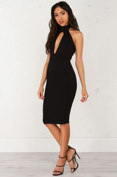 front view Mock Neck Halter Dress in Black