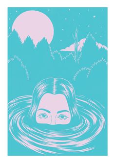 16.5 x 23.4 inch 2-colour screenprint poster in turquoise and pastel purple
