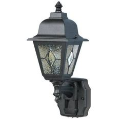 Heath Zenith HZ-4395 Classic Cottage 1 Light 180 Degree Motion Activated Outdoor Wall Sconce, Grey metal (Glass)
