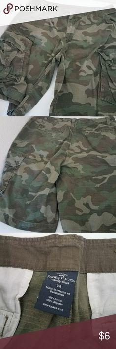 Men's Camo Cargo Shorts Mens camoflauge or army print shorts by Faded Glory. Gently used. Light fading. 100% cotton. Size 34. Faded Glory Shorts Cargo