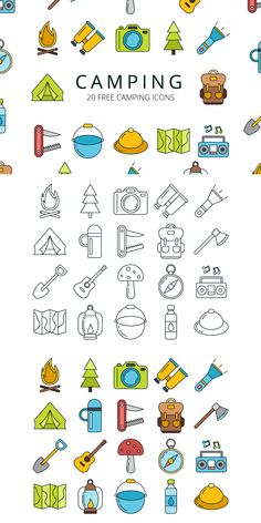 Here is a great set - Camping Vector Free Icon Set. Doodle Icon, Doodle Art, Autumn Doodles, Camping Icons, Icon Design, Design Web, Flat Design, Tattoo Project, Sketch Notes