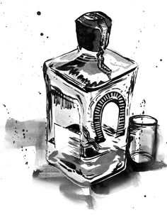 """Tequila, 2014. Ink and pencil.  Illustration for forthcoming """"Lucha Liga!"""" tabletop RPG.  www.andrewfearnsideart.com"""