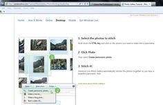 Online montage tutorial and   URL  windowslive.com/Tutorial/PhotoGallery/PhotoStitching/StepByStep