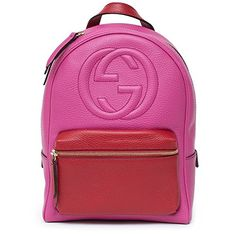 Gucci Soho Backpack Bag Leather Pink Rosette Hibiscus Red Shoulder Italy  New https    85c405f359d74