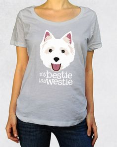 Ladies' Scoop Tee - My Bestie is a Westie by NiceButton - West Highland White Terrier clothing