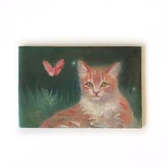 Original oil painting Kitten Cat Orange Butterfly Cats Art Listed By Artist USA #Realism Orange Butterfly, Butterfly Art, Flower Art, Butterfly Watercolor, Watercolor Art, Bunny Art, Original Art For Sale, Cat Art, Cats And Kittens
