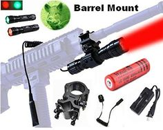 WindFire_¡ [A Complete Set] 100 Yard GREEN and RED LED Coyote Hog Hunting Light Tactical Flashlight Torch GREEN and RED Light Hunting Flashlight with Pressure Switch and  Barrel Mount 18650 Rechargeable battery and Charger *** Discover this special outdoor gear, click the image : Camping stuff