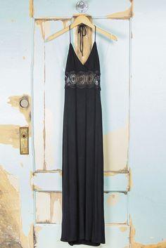 Crochet Panel Halter Maxi Dress - Black