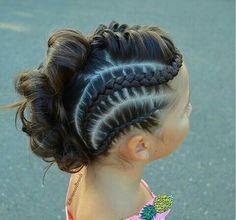Half cornrow and curls updo