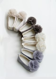 Satin Flower Girl Shoes - Neutral Colors - Easter Shoes - Couture Ballet Slipper - Satin and Tulle - 13 colors - Baby Souls Baby Shoes. $34.00, via Etsy.