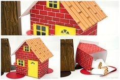 Three Little Pigs Brick Stick and Straw House by PiggyBankParties